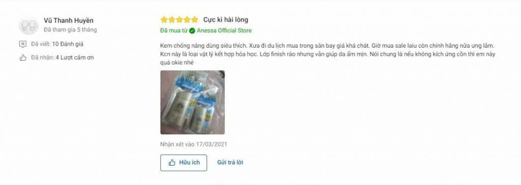 Review sản phẩm Anessa Gold Milk tại Tiki