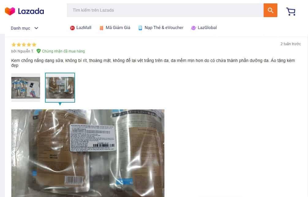 Đánh giá Anessa Gold Milk tại Lazada