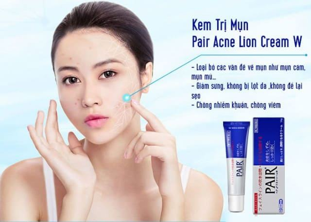 Công dụng kem trị mụn Pair Acne W Cream